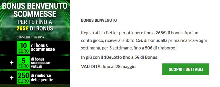 bonus 100 primo deposito scommesse